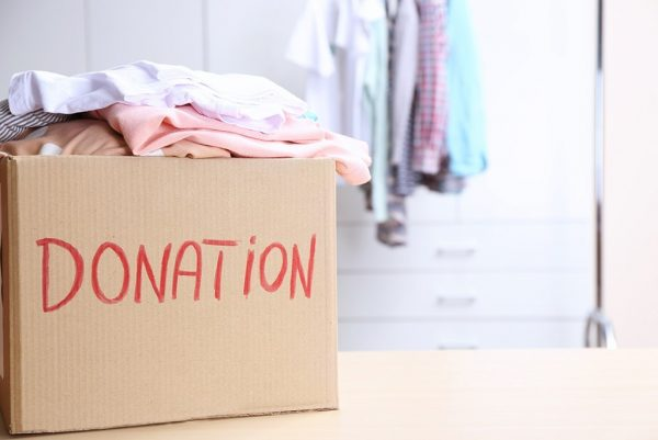 clothes inside a donation box
