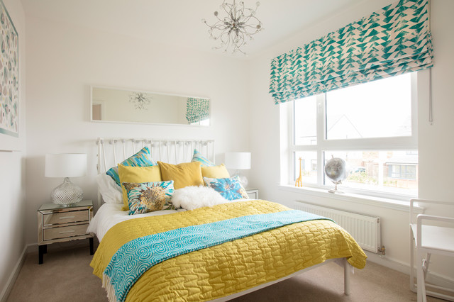 refreshing yellow beddings covering a bed