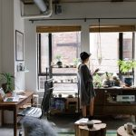 Woman on iPad in home office