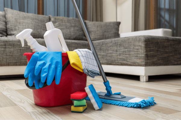 Household cleaning supplies placed on the living room floor
